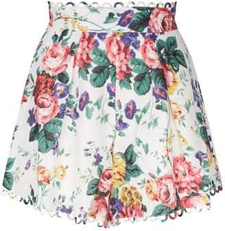 Zimmermann Floral High-Waist Shorts