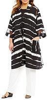 IC Collection Plus Shawl Collar Printed Kimono Jacket