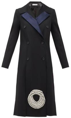 J.W.Anderson Crystal-embellished Wool-twill Coat - Womens - Black