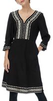 Brora Folk Embroidered Cotton Dress, Midnight
