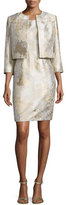 Albert Nipon Sleeveless Marble Sheath Dress w/ Jacket, Gold Sand