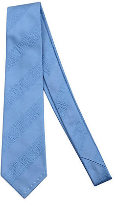 One Kings Lane Vintage Chanel Blue Stripe Logo Tie - Vintage Lux
