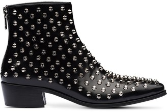 Prada Brushed Leather Ankle Booties