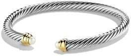 David Yurman Pearl, Sterling Silver& 14K Gold Bangle Bracelet
