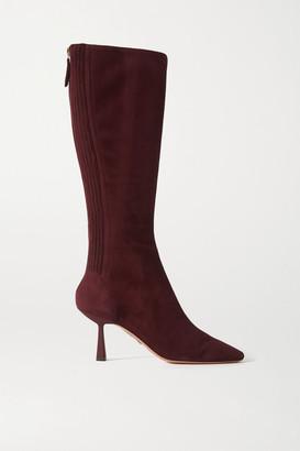 Aquazzura Curzon 75 Suede Knee Boots - Burgundy