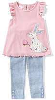 Mud Pie Baby Girls 12/18 Months Bunny-Appliqued Tunic & Striped Leggings Set