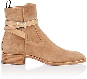 Christian Louboutin Men's Kicko Flat Suede Jodhpur Boots - Beige, Tan