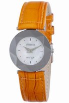Jowissa Women's J5.259.M Facet Stainless Steel White Mother-Of-Pearl Dial Orange Genuine Leather Watch
