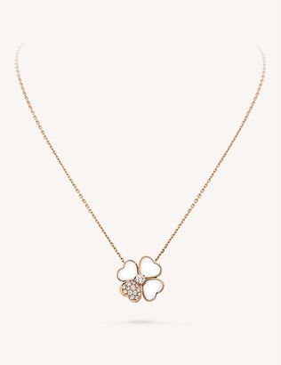 Van Cleef & Arpels Cosmos gold, mother-of-pearl and diamond clip pendant, Pink gold