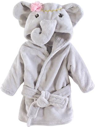 Little Treasure Girls' Bath Robes Blossom - Blossom Elephant Plush Bathrobe - Newborn