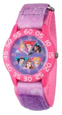 EWatchFactory Disney Princess Cinderella, Rapunzel, Ariel, Jasmine, Snow White and Belle Girls' Pink Plastic Time Teacher Watch