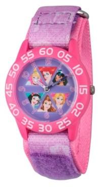 EWatchFactory Disney Princess Cinderella, Rapunzel, Ariel, Jasmine, Snow White and Belle Girls' Pink Plastic Time Teacher Watch