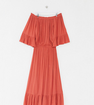 ASOS DESIGN Curve off shoulder maxi dress in texture dobby in rust