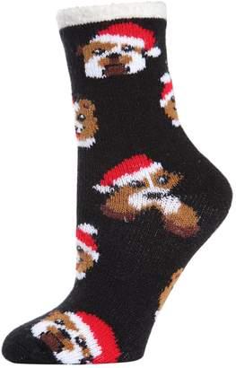 Me Moi Memoi 2-Pack Dog-Print Faux Fur-Lined Cabin Socks
