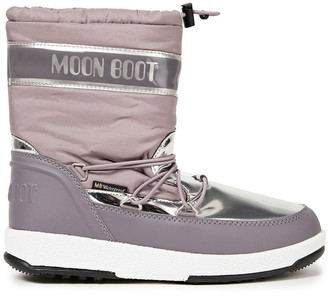Moon Boot Metallic Shell And Faux Leather Snow Boots