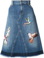 RED Valentino bird patches denim skirt