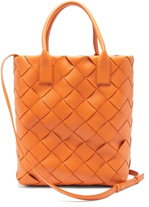 Bottega Veneta Maxi Cabat Intrecciato Leather Tote Bag - Orange
