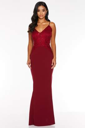 Quiz Petite Berry Sequin Lace Strappy Maxi Dress