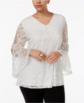 Alfani Plus Size Bell-Sleeve Burnout Top, Created for Macy's