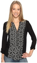 Lucky Brand Printed Woven Mix Henley Women's Clothing