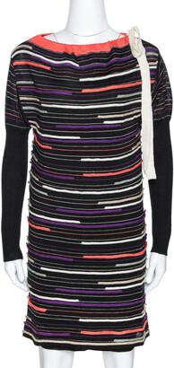 M Missoni Black Embossed Stripe Lurex Wool Knit Mini Dress S