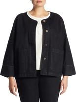 Thumbnail for your product : Joan Vass, Plus Size Snap Front Denim Jacket