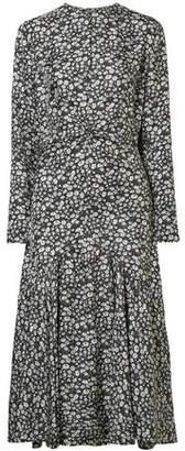 Calvin Klein Ruched Floral-print Silk-shell Midi Dress