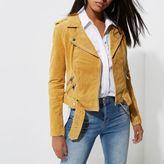 River Island Womens Light yellow belted suede biker jacket
