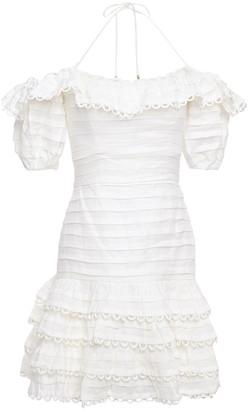Zimmermann Allia Pintuck Off-the-shoulder Floral-print Linen Mini Dress