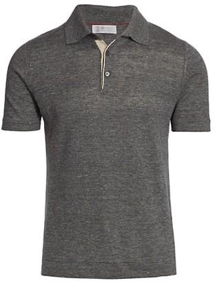 Brunello Cucinelli Linen-Blend Polo T-Shirt