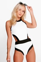 boohoo Petite Zoe Colour Block Cut Out Detail Swimsuit