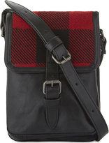 Dries Van Noten Mens Checked Modern Check Detailed Small Leather Messenger Bag
