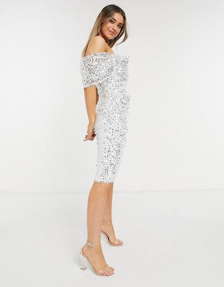 Forever U ruched midi sequin dress in ivory and gold