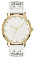 Merona Women's Perforated Strap Watch Gold/White
