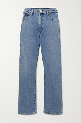 Gold Sign Net Sustain The Cropped A High-rise Straight-leg Jeans - Indigo