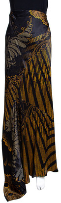 Roberto Cavalli Black & Gold Abstract Printed Silk Flared Maxi Skirt L