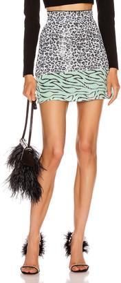 Olivia Rubin Libby Skirt in Mono Leopard   FWRD