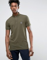 Boss Orange By Hugo Boss Slim Polo Stretch Pique In Green