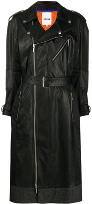 Koché Faux Leather Zip-Up Trench Coat