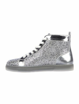 Christian Louboutin Patent Leather Crystal Embellishments Wedge Sneakers Metallic