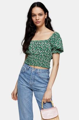 Topshop Womens Green Floral Print Shirred Waist Top - Multi