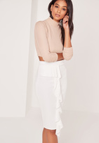 Missguided Petite Scuba Midi Skirt White