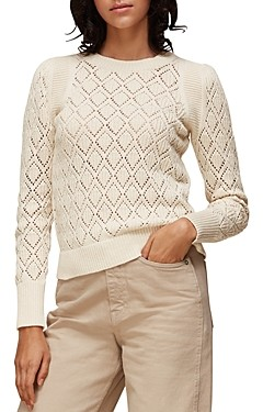Whistles Pointelle Puffed Sleeve Knit Top