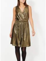 George Metallic Wrap Front Dress