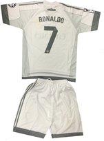 Silva Kids Real Madrid Ronaldo 7 Jersey/Shorts Soccer Football DriFit White (3-4 yrs)