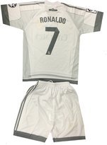 Silva Kids Real Madrid Ronaldo 7 Jersey/Shorts Soccer Football DriFit White (6-7 yrs)