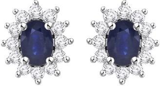 Shah Diamonds 10K White Gold 7/8ct TDW Diamond and 2ct TDW Blue Sapphire Starburst Earring Jackets