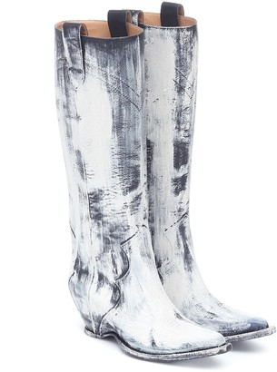 Maison Margiela Painted knee-high cowboy boots
