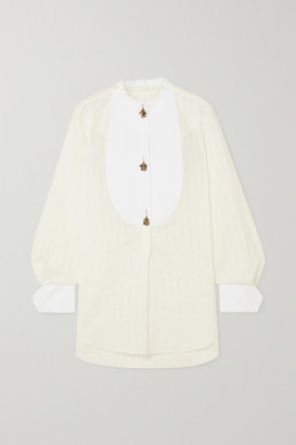 Chloé Embellished Striped Cotton-jacquard Shirt - Off-white