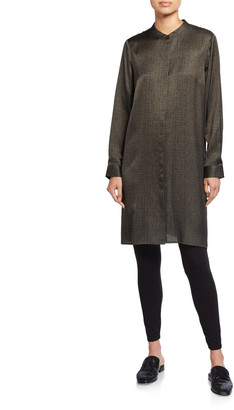 Eileen Fisher Crossroad Print Silk/Organic Cotton Mandarin-Collar Shirtdress